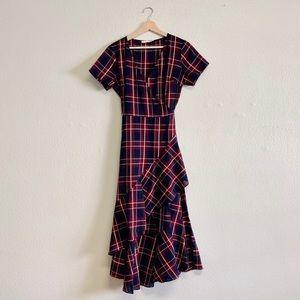 Urban Outfitters Lush Plaid Ruffle Wrap Dress